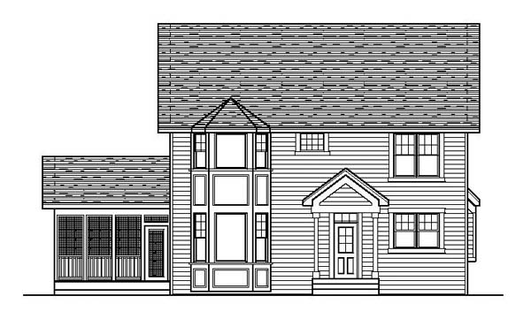 Traditional House Plan 42204 with 4 Beds, 3 Baths Rear Elevation