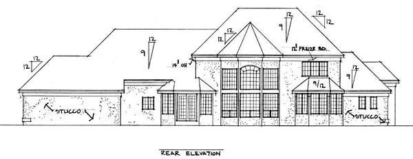 European House Plan 42205 Rear Elevation