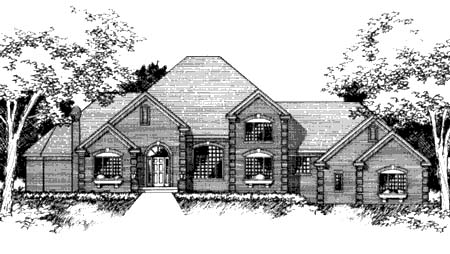 European House Plan 42221 with 3 Beds, 3 Baths, 3 Car Garage Elevation