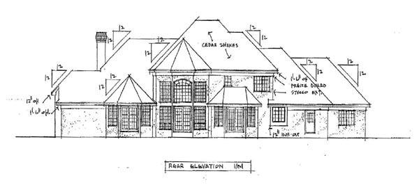 European House Plan 42224 Rear Elevation
