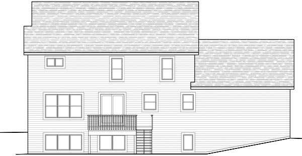 Colonial , Traditional House Plan 42459 with 4 Beds, 3 Baths, 2 Car Garage Rear Elevation