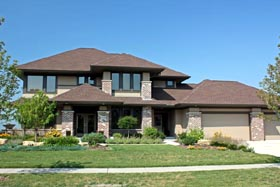 Contemporary , Craftsman , Prairie Style , Southwest House Plan 42481 with 3 Beds, 3 Baths, 3 Car Garage Elevation