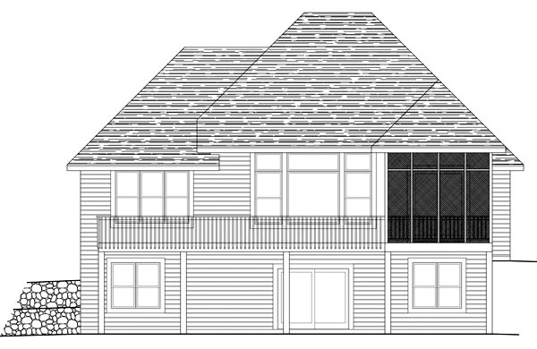 Traditional Rear Elevation of Plan 42487