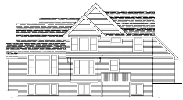 Traditional , Rear Elevation of Plan 42488