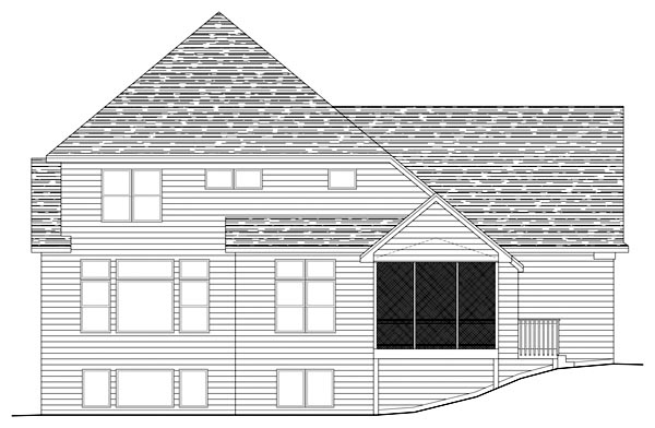 Traditional House Plan 42489 with 3 Beds, 3 Baths, 3 Car Garage Rear Elevation