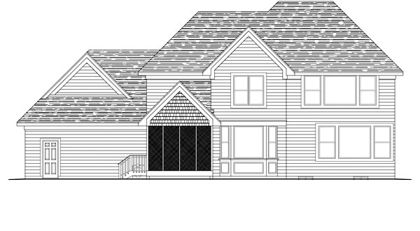 Traditional House Plan 42493 with 4 Beds, 3 Baths, 3 Car Garage Rear Elevation