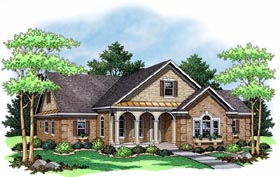 House Plan 42503 | European Ranch Traditional Style Plan with 1792 Sq Ft, 3 Bedrooms, 2 Bathrooms, 2 Car Garage Elevation