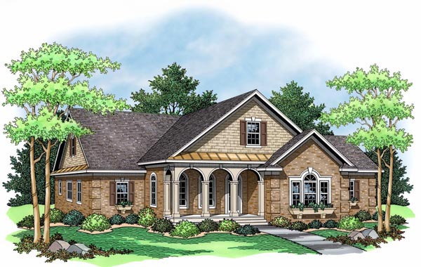 European Ranch Traditional House Plan 42503 Elevation