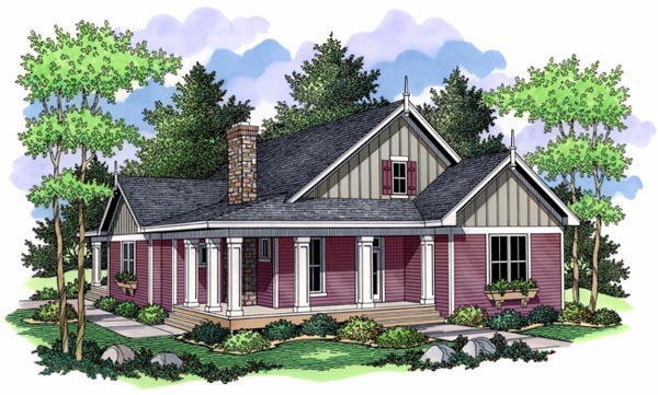 Cottage Farmhouse Ranch Traditional House Plan 42504 Elevation