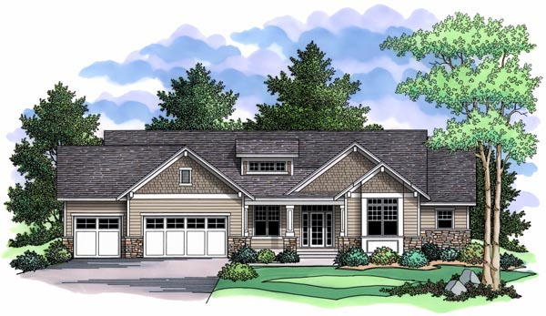 Craftsman, Traditional, House Plan 42505 with 2 Beds, 2 Baths, 3 Car Garage