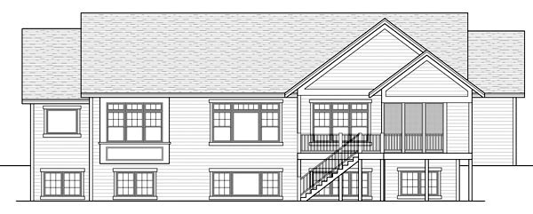 Craftsman , Traditional , Rear Elevation of Plan 42505