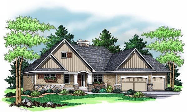 European Ranch Traditional House Plan 42507