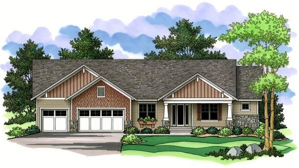 Craftsman Ranch Traditional House Plan 42509