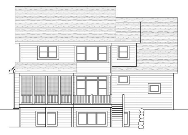 Craftsman Traditional Rear Elevation of Plan 42513