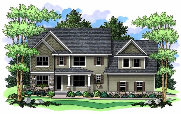 Craftsman Traditional Elevation of Plan 42516