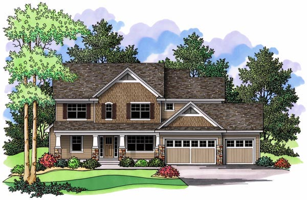 Craftsman Farmhouse Traditional Elevation of Plan 42517