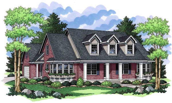 Traditional House Plan 42523 with 3 Beds, 2 Baths, 2 Car Garage Elevation
