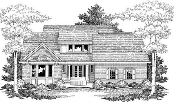 Traditional Rear Elevation of Plan 42523
