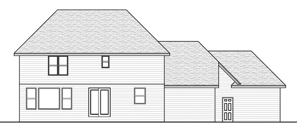 House Plan 42525 | Traditional Style Plan with 2531 Sq Ft, 4 Bedrooms, 3 Bathrooms, 3 Car Garage Rear Elevation