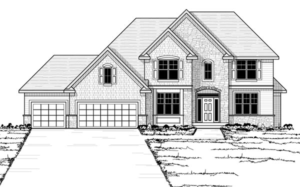 Traditional House Plan 42527 with 4 Beds, 3 Baths, 3 Car Garage Picture 1