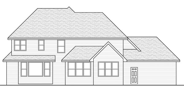 Traditional House Plan 42527 with 4 Beds, 3 Baths, 3 Car Garage Rear Elevation