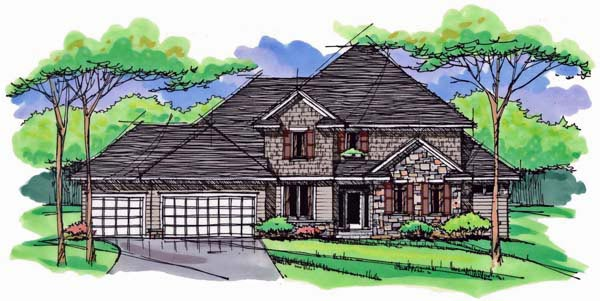 Country Craftsman Traditional Elevation of Plan 42537