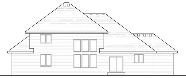 Country Craftsman Traditional Rear Elevation of Plan 42537