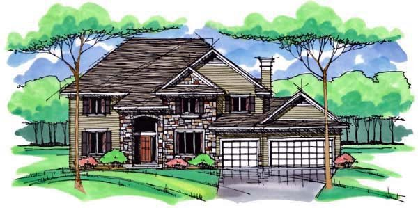 Country , Craftsman , Traditional House Plan 42538 with 4 Beds, 3 Baths, 3 Car Garage Elevation