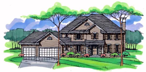 Country Craftsman Traditional Elevation of Plan 42540