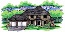 Country , Craftsman , Traditional House Plan 42541, 3 Car Garage Elevation