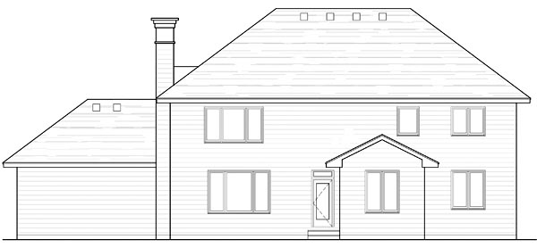 Country Craftsman Traditional House Plan 42542 Rear Elevation