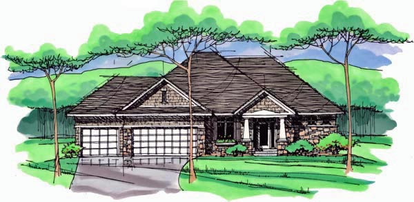 Cottage Country Craftsman European Ranch Traditional House Plan 42547 Elevation