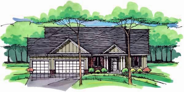 Cottage Country Craftsman European Ranch Traditional House Plan 42549 Elevation