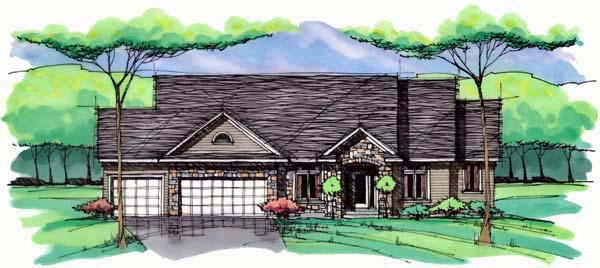 Cottage Country Craftsman European Ranch Traditional House Plan 42552 Elevation