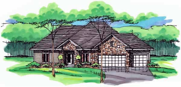 Cottage , Country , Craftsman , European , Ranch , Traditional House Plan 42555 with 3 Beds, 2 Baths, 3 Car Garage Elevation