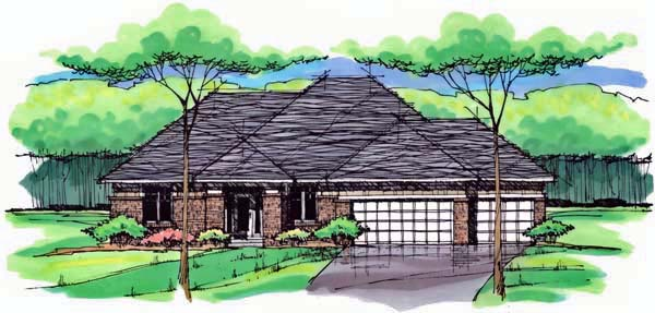 Cottage Country Craftsman European Ranch Traditional House Plan 42556 Elevation