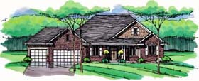 Cottage Country Craftsman European Ranch Traditional House Plan 42557 Elevation
