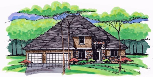 Colonial , Cottage , Country , Craftsman , European , Traditional House Plan 42558 with 4 Beds, 3 Baths, 3 Car Garage Elevation