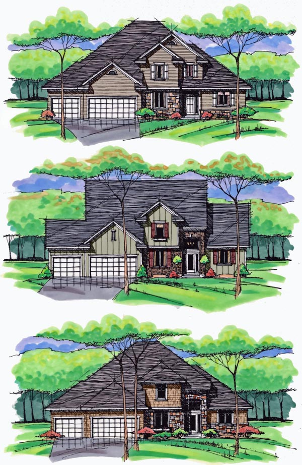 Colonial, Cottage, Country, Craftsman, European, Traditional House Plan 42558 with 4 Beds, 3 Baths, 3 Car Garage Picture 1