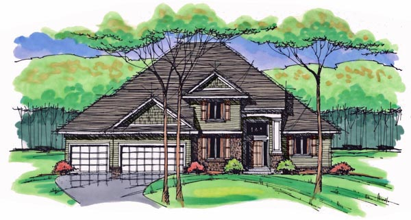 House Plan 42559 | Colonial Cottage Country Craftsman European Traditional Style Plan with 2535 Sq Ft, 4 Bedrooms, 3 Bathrooms, 3 Car Garage Elevation