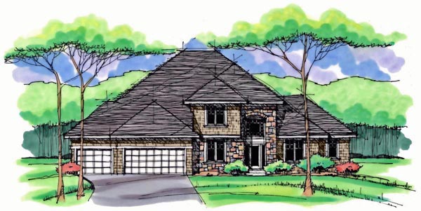 House Plan 42560 | Colonial Cottage Country Craftsman European Traditional Style Plan with 2621 Sq Ft, 4 Bedrooms, 3 Bathrooms, 3 Car Garage Elevation