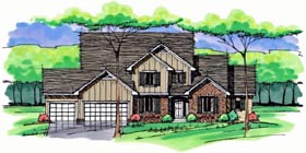 Colonial , Cottage , Country , Craftsman , European , Traditional House Plan 42561 with 4 Beds, 4 Baths, 3 Car Garage Elevation