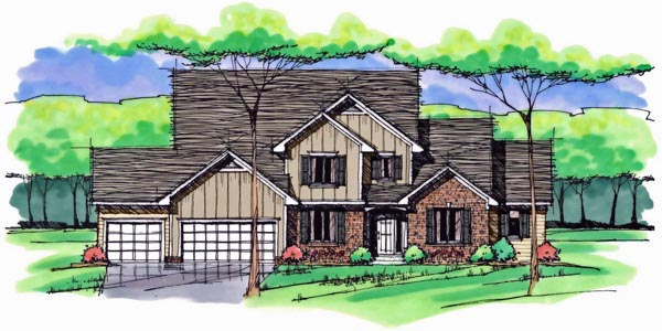 Colonial Cottage Country Craftsman European Traditional Elevation of Plan 42561