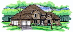 House Plan 42564 | Colonial Cottage Country Craftsman European Traditional Style Plan with 2820 Sq Ft, 4 Bedrooms, 3 Bathrooms, 3 Car Garage Elevation