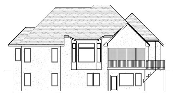 Traditional House Plan 42572 with 4 Beds, 3 Baths, 3 Car Garage Rear Elevation