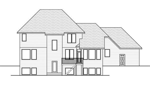 House Plan 42576 | Traditional Style Plan with 2610 Sq Ft, 4 Bedrooms, 3 Bathrooms, 3 Car Garage Rear Elevation