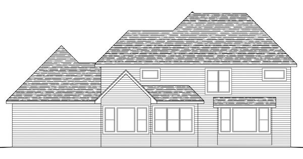Traditional, House Plan 42581 with 4 Beds, 3 Baths, 3 Car Garage Rear Elevation