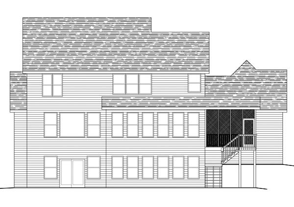 House Plan 42586 | Traditional Style Plan with 2545 Sq Ft, 3 Bedrooms, 3 Bathrooms, 3 Car Garage Rear Elevation