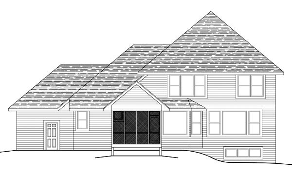 Traditional , Rear Elevation of Plan 42588