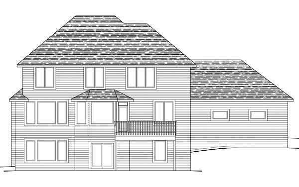 Traditional Rear Elevation of Plan 42590